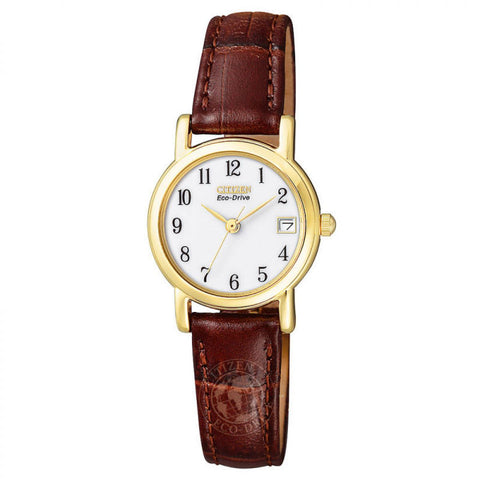 Citizen Ladies Eco-Drive Brown Leather Strap Watch EW1272-01A