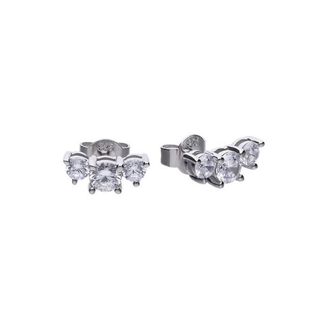 Diamonfire 3 Stone Sterling Silver & CZ Solitaire Stud Earrings 62/1796/1/082