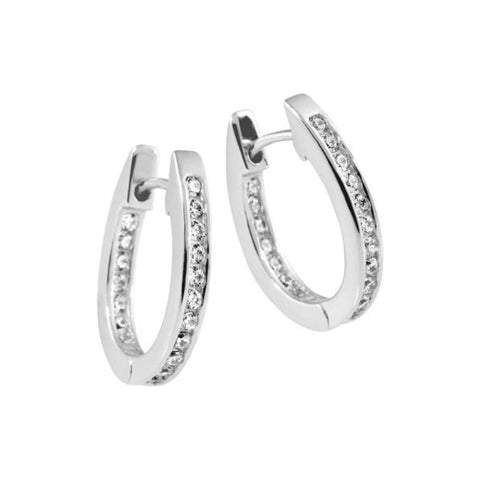 Diamonfire CZ Solitaire Creole Hoop Earrings 62/1731/1/082