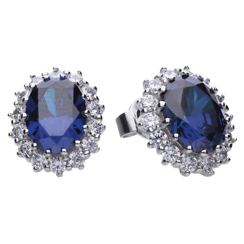 Diamonfire Large Oval Stud Earrings with Blue CZ E5586 4703010