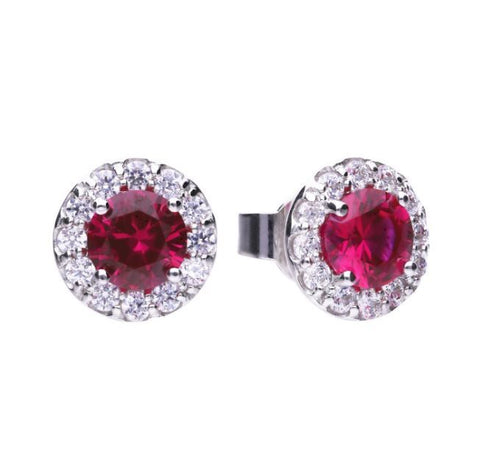 Diamonfire Round Pave Stud Earrings with Red CZ E5654 4703026