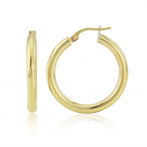 9ct Gold Medium Hoop Earrings 8H66Q 0305464