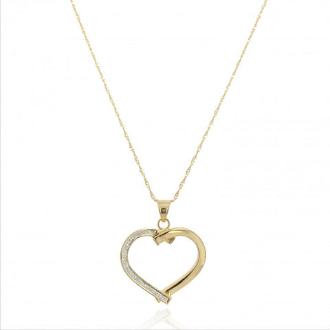 9ct Gold Open Glitter Heart Pendant Necklace 6V53Q 0302442