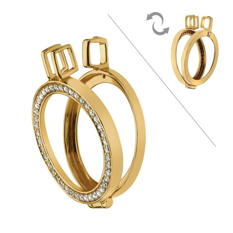 Hot Diamonds Emozioni Yellow Gold Plated Sterling Silver Reversible Keeper 25mm EK009