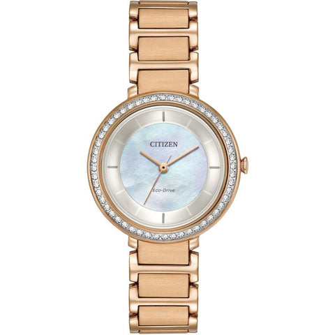 Citizen Eco-Drive Silhouette Rose Gold Ladies Watch EM0483-54D 1003289
