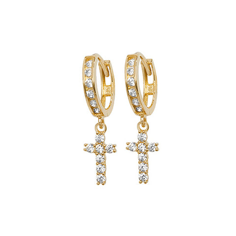 9ct Gold Crucifix Drop Earrings ER1124 0304066