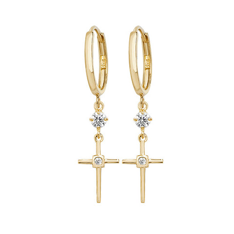 9ct Gold Crucifix Drop Earrings ER1125 0304067