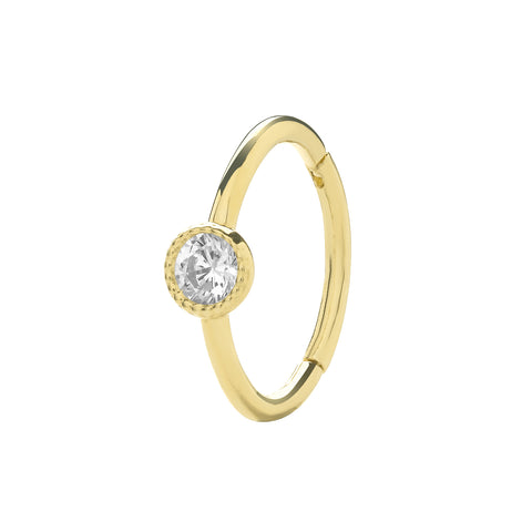 9ct Gold & CZ Cartilage Hoop Earring ES1964