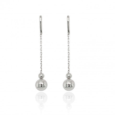 9ct White Gold Chain & Ball Drop Earrings 8L52W