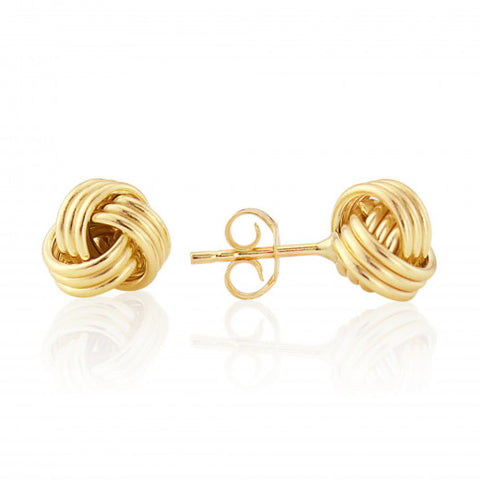 9ct Gold Wool Mark Knot Stud Earrings 8G58Q