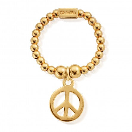 ChloBo - Mini Peace Gold Plated Sterling Silver Ring GRM1106 X