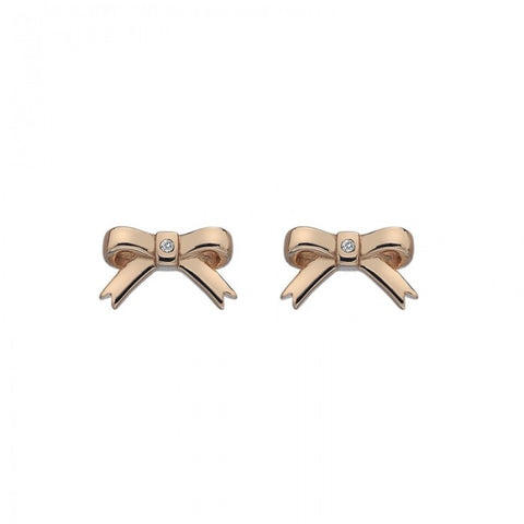 Hot Diamonds Rose Gold Ribbon Stud Earrings DE537 2003226
