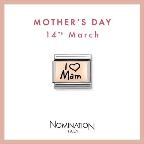 Nomination Limited Edition 9ct Rose Gold & Enamel I Love Mam Charm 430111 03