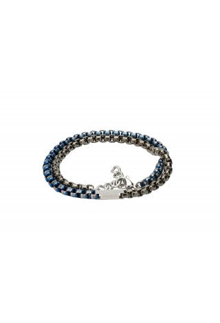 Unique & Co - Black and Blue IP Plating Steel Mens Bracelet LAB-125BLUE