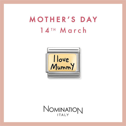 Nomination Limited Edition 18ct Gold & Enamel I Love Mummy Charm 030166 02