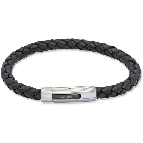 Unique & Co - Stainless Steel and black Leather Plaited Mens Bracelet B176BL