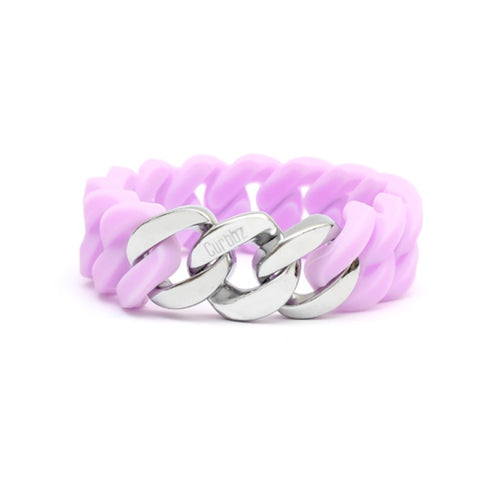 Curbbz Lilac Silicone & Silver Stainless Steel Bracelet 0353059