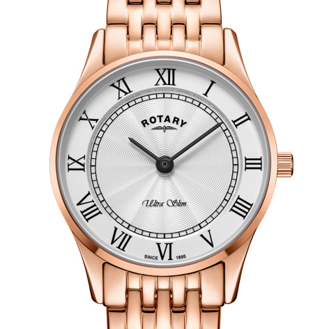 Rotary Ultra Slim Rose Gold Stainless Steel Ladies Watch LB08304/01