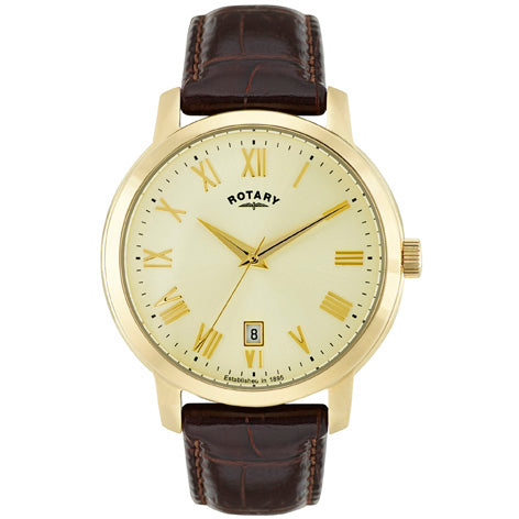 Rotary Sloane Gold Plated Brown Leather Strap Mens Watch GS02462/03