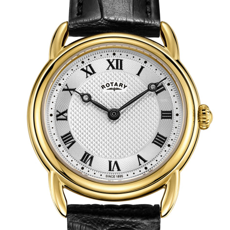 Rotary Gold Canterbury Black Leather Strap Watch LS05338/21