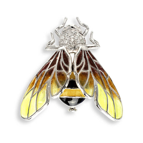 Nicole Barr - Sterling Silver with White Sapphire 38mm Bee Brooch NB0301YA