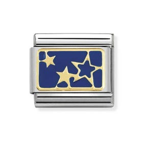 Nomination 18ct Gold with Blue Enamel Stars Charm 030284 44