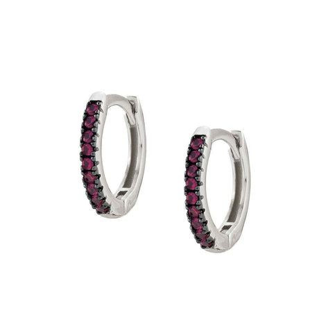 Nomination - Easychic Silver Hoop Earrings with Red CZ 147903 09