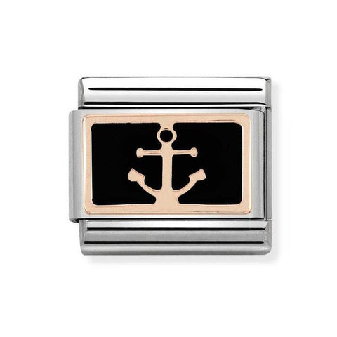 Nomination 9ct Rose Gold with Black Anchor Charm 430201 18