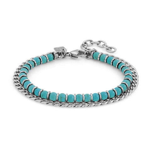 Nomination Instinct Bead & Chain Bracelet with Turquoise 027900 33