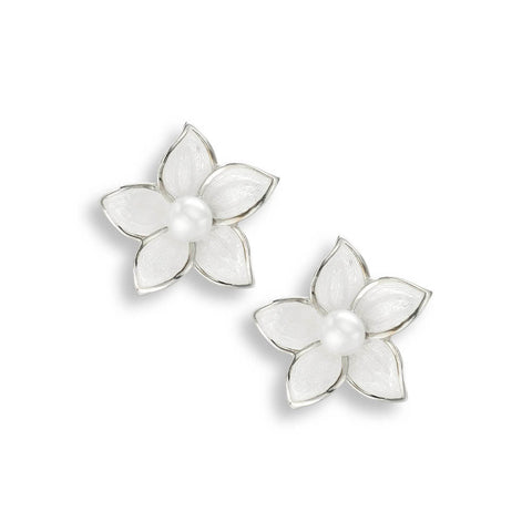 Nicole Barr - 15mm Sterling Silver White Stephanotis Stud Earrings with Pearl NE0344A