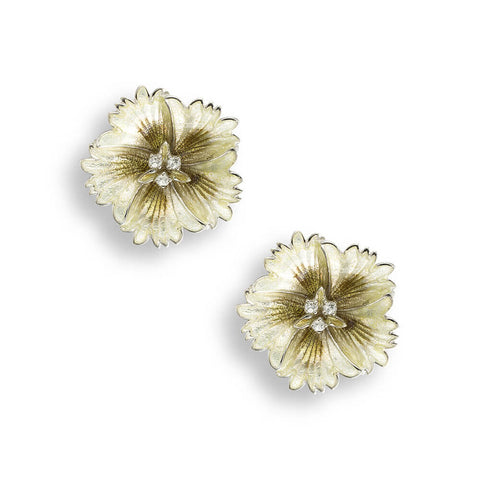 Nicole Barr - 14mm Sterling Silver Yellow Sweetness Stud Earrings with White Sapphire NE0362YB