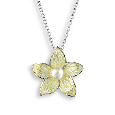 Nicole Barr - Sterling Silver Stephanotis Yellow Floral 20mm Necklace with Freshwater Pearl NN0276B