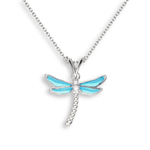 Nicole Barr - Sterling Silver Blue Dragonfly Necklace with White Sapphires NN0321YA