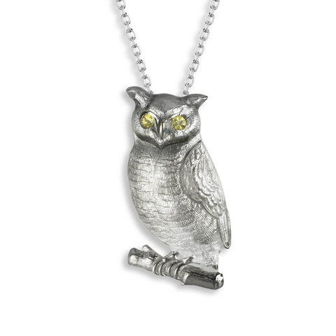 Nicole Barr - Sterling Silver Grey Owl Necklace with Yellow Sapphires NN0346YA
