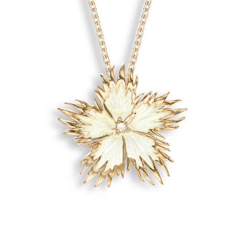 Nicole Barr - Rose Gold Plated Sterling Silver White Rock Flower Necklace NN0363YC-RG
