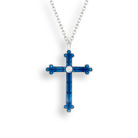 Nicole Barr - Sterling Silver Blue Cross with White Sapphires Necklace NN0384YA