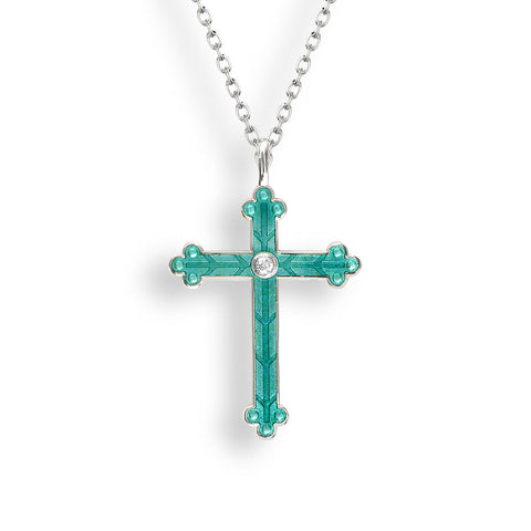 Nicole Barr - Sterling Silver Green Cross with White Sapphires Necklace NN0384YB