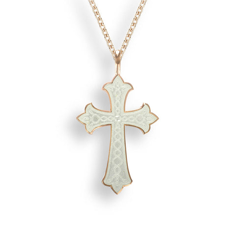 Nicole Barr - Sterling Silver Rose Gold Plated White Cross Necklace NN0385A-RG