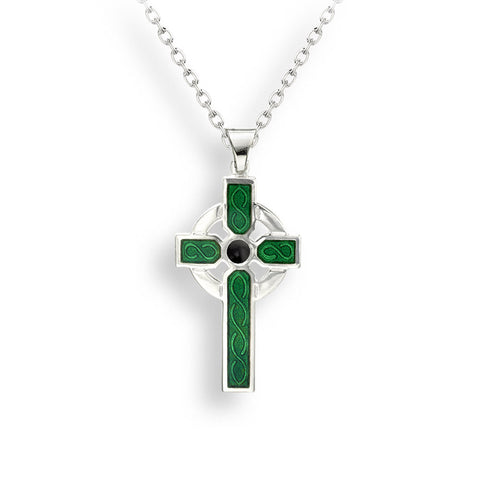 Nicole Barr - Sterling Silver Green Celtic Cross Necklace NN0386A