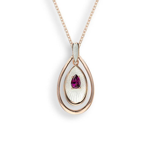 Nicole Barr - Rose Gold Plated Sterling Silver Rhodolite Necklace NN0394SA-RG
