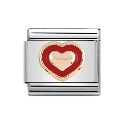 Nomination 9ct Rose Gold Red Border Heart Charm 430203 01
