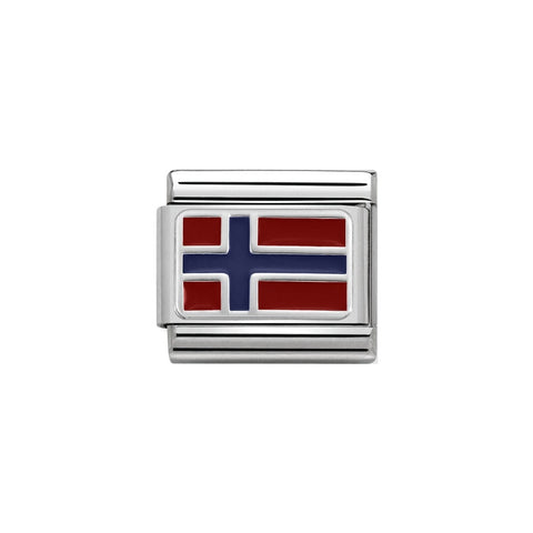 Nomination Silver & Enamel Norway Flag Charm 330207 09