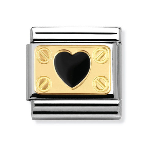Nomination 18ct Gold & Enamel Black Heart with Screws Charm 030280 02