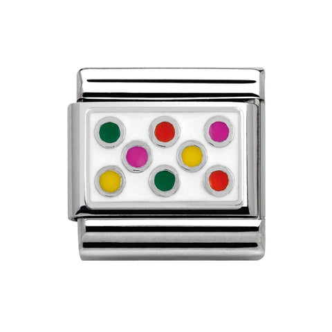Nomination Silver & Enamel Snow Multi Coloured Bobble Charm 330206 02