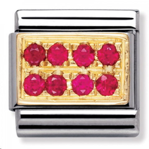 Nomination 18ct Gold Red Pavé Charm 030314 02