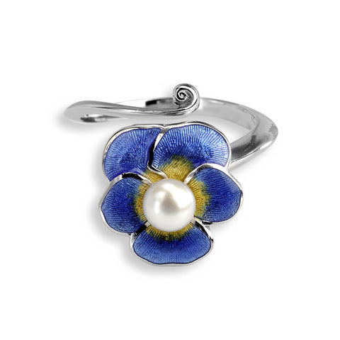 Nicole Barr - Sterling Silver Blue Pansy Ring with Pearl NR0290B