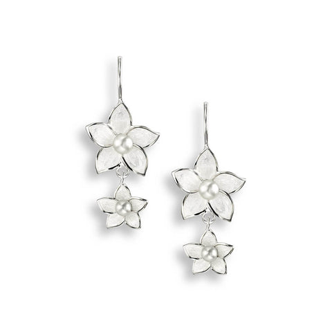Nicole Barr - Sterling Silver Stephanotis White Floral 26mm Wire Earrings with Pearl NW0276A