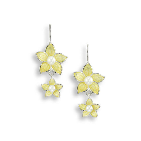 Nicole Barr - Sterling Silver Stephanotis Yellow Floral 26mm Wire Earrings with Pearl NW0276B