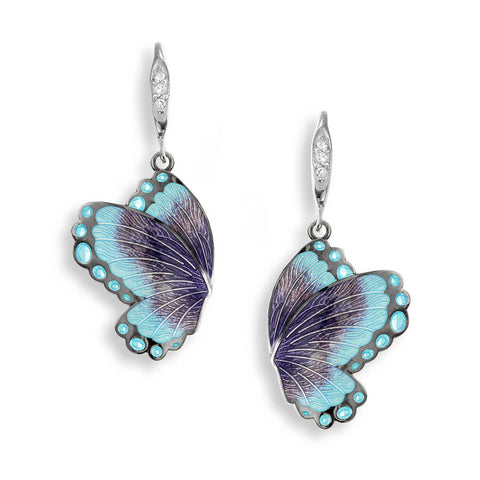 Nicole Barr - Sterling Silver Purple Butterfly Wire Earrings with White Sapphires NW0341YA-BR