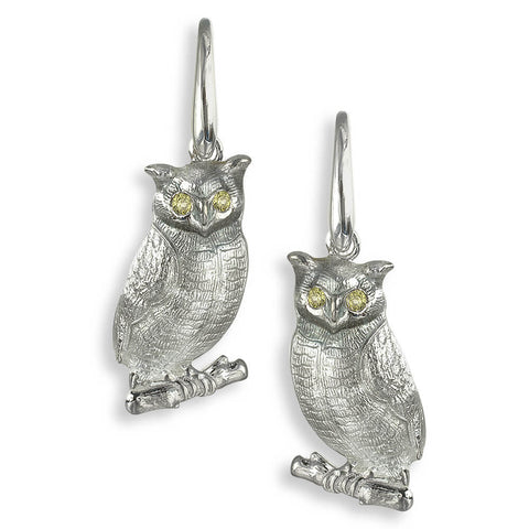 Nicole Barr - Sterling Silver Grey Owl Wire Earrings with Yellow Sapphires NW0346YA
